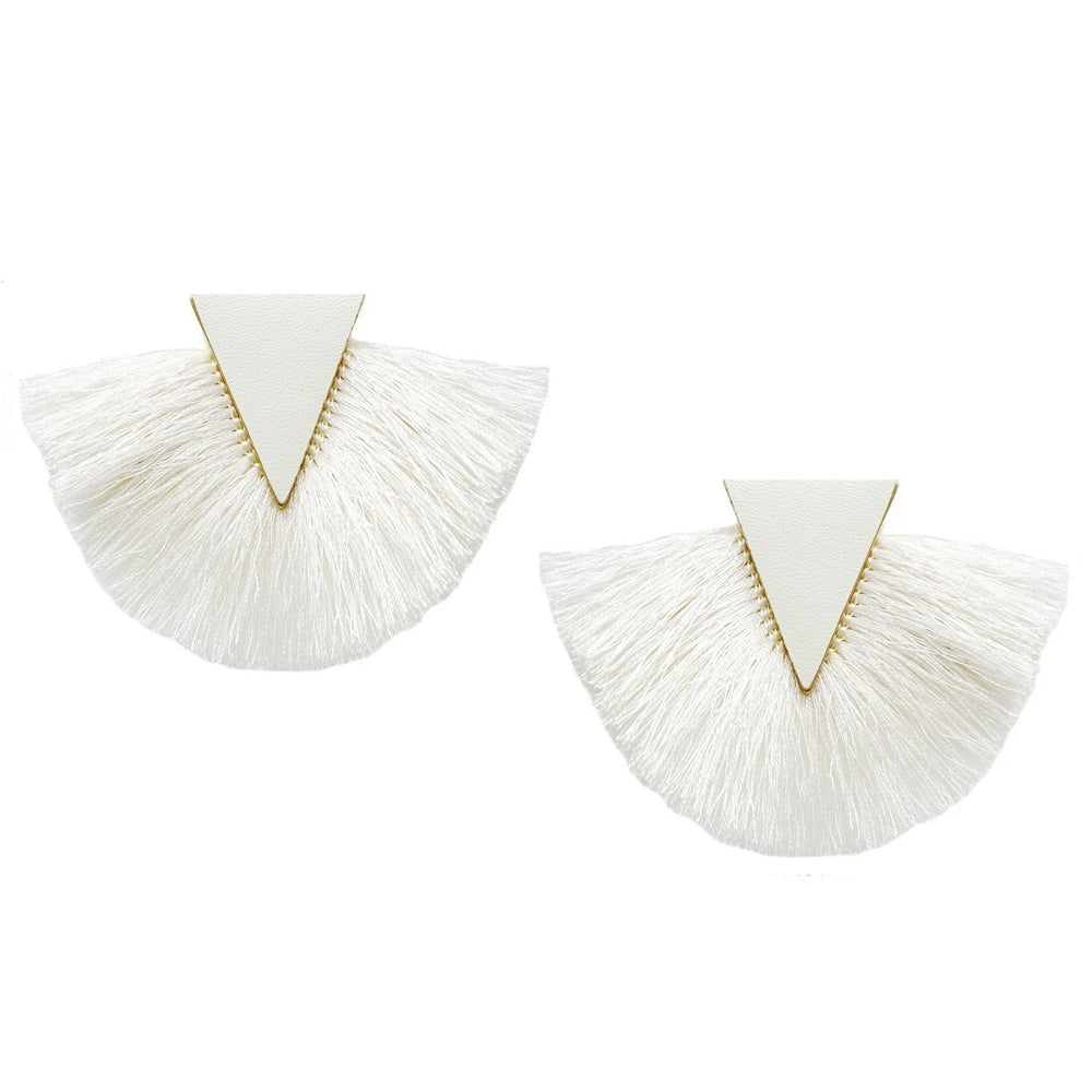 Leather Triangle Fringe Earring - Jaffi's