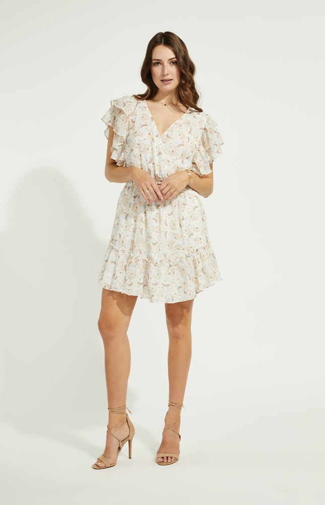 Load image into Gallery viewer, Caroline Flutter Sleeve Dress