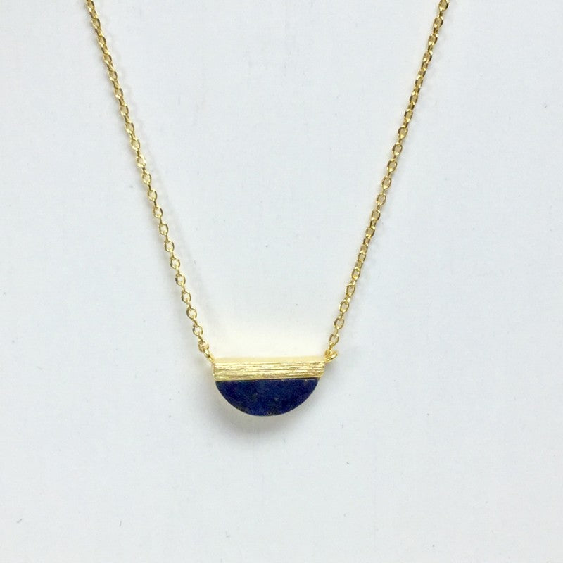 Gold Half Circle Stone Necklace