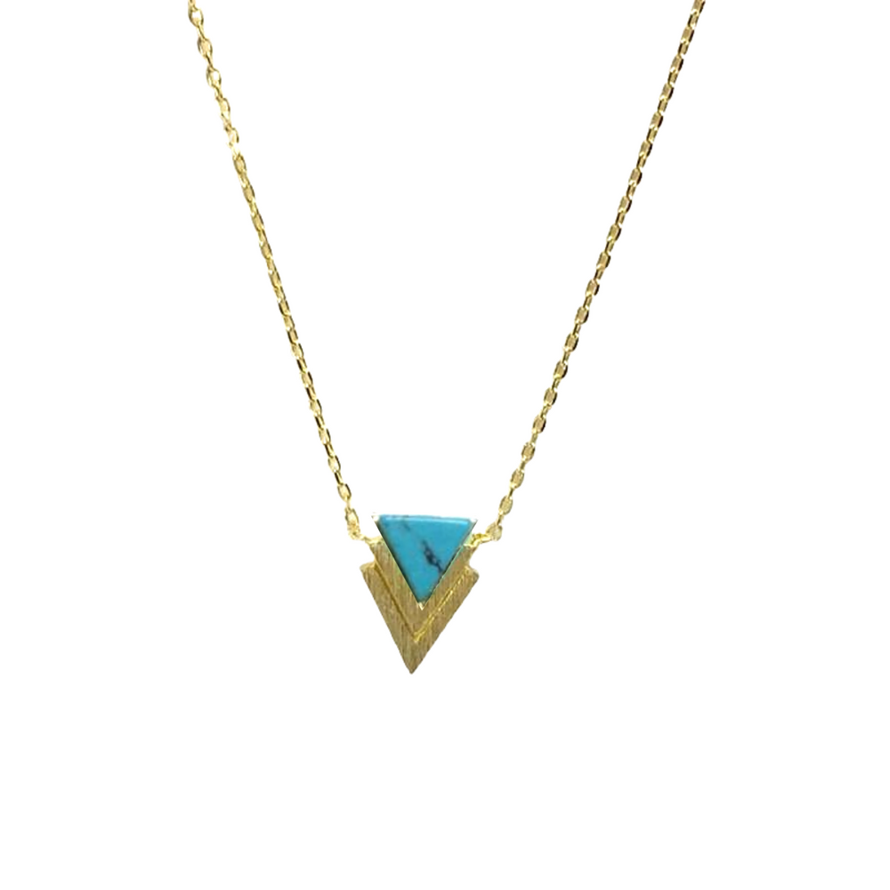 Gold Double Triangle Chevron Stone Necklace - Jaffi's