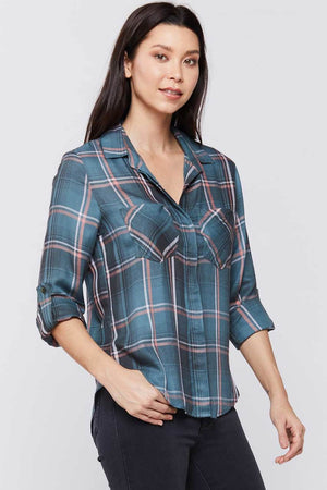 Load image into Gallery viewer, Plaid Riley Button Down Top