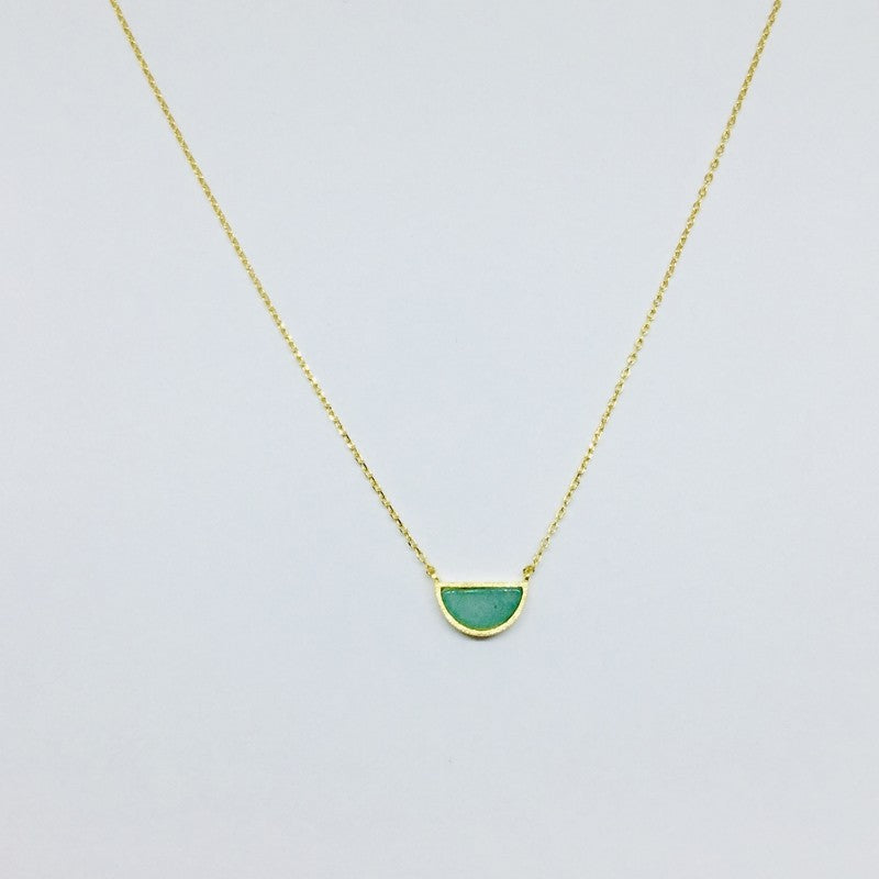 Load image into Gallery viewer, Half Circle Stone Necklace - Jaffi's