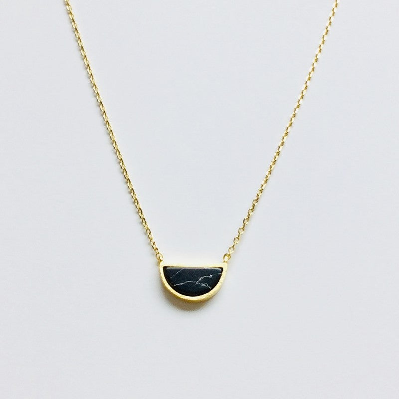 Half Circle Stone Necklace - Jaffi's