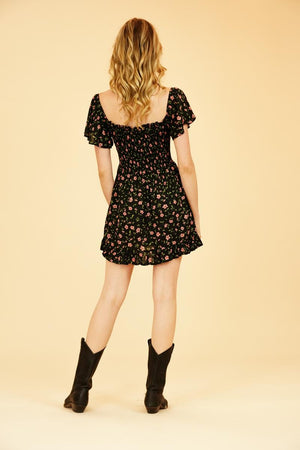 Load image into Gallery viewer, Hendrix Mini Dress - Botanical Black