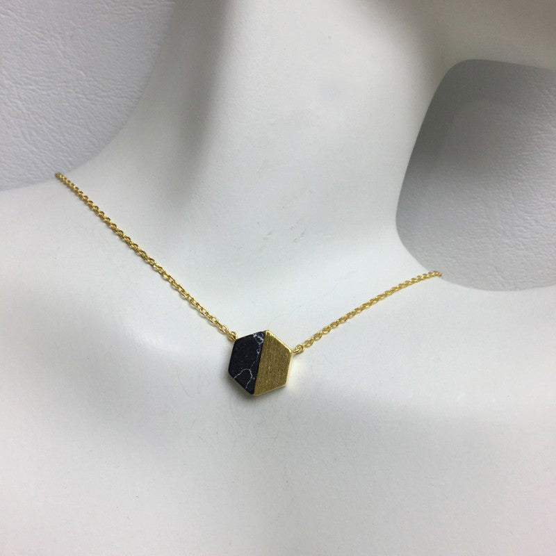 Gold Hex Stone Necklace - Jaffi's