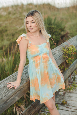Load image into Gallery viewer, Hollie Short Dress - Teal/Gold Sunburst