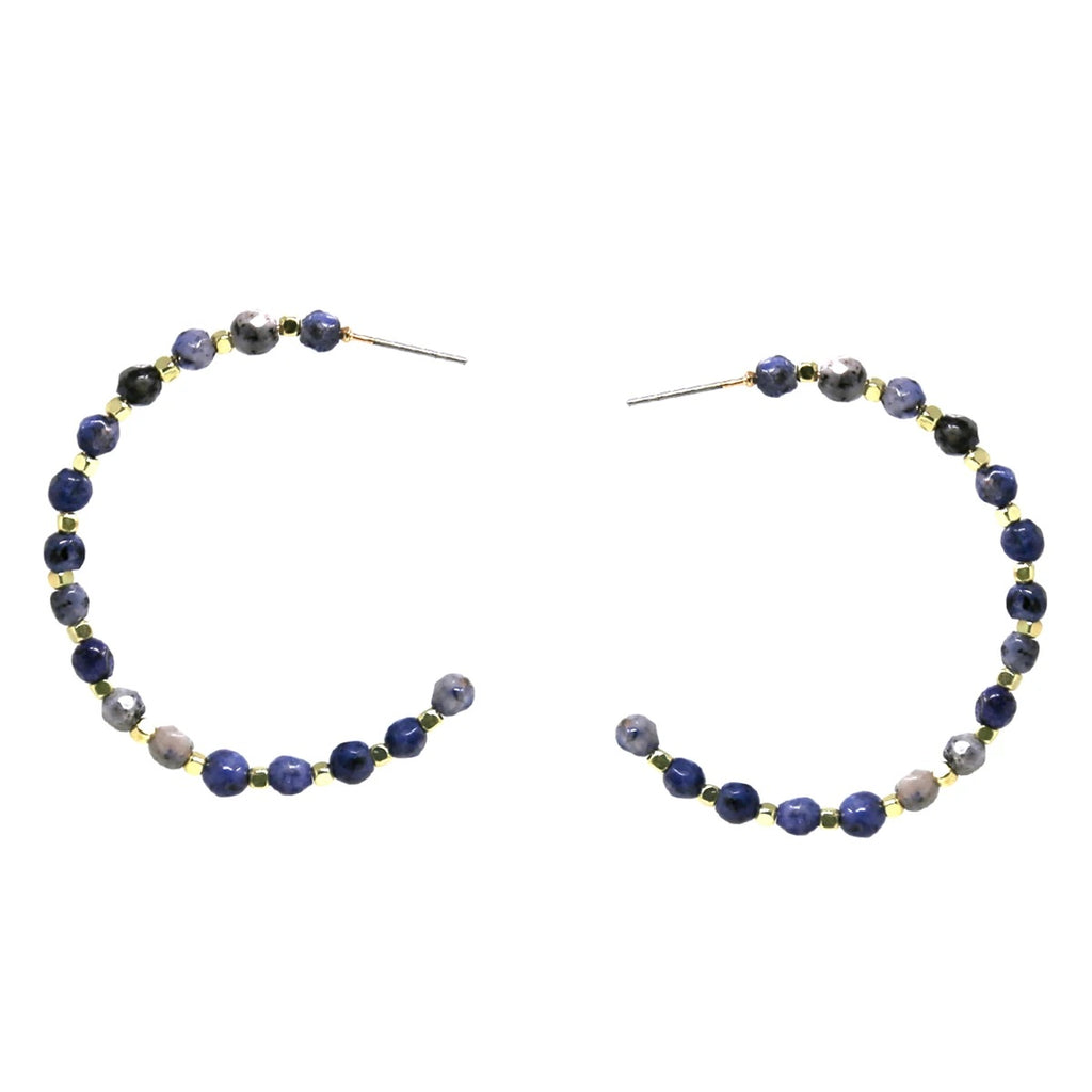 Natural Stone Beaded Hoop Earring