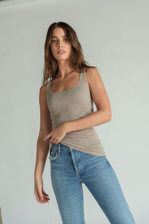 Load image into Gallery viewer, Jagger Rib Layering Tank - Mauve Mist