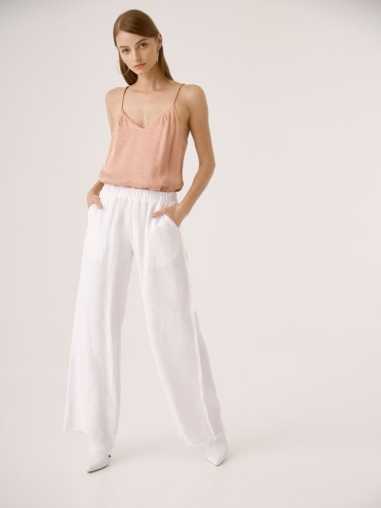 Raw Edge Wide Leg Linen Pants