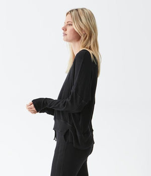 Load image into Gallery viewer, Madison Brushed Jersey Kiara Staggered Hem Top