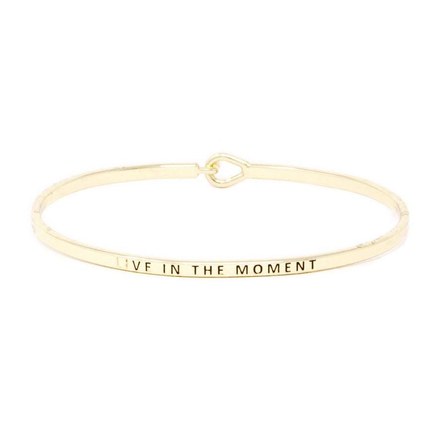 LIVE IN THE MOMENT Inspirational Message Bracelet - Jaffi's