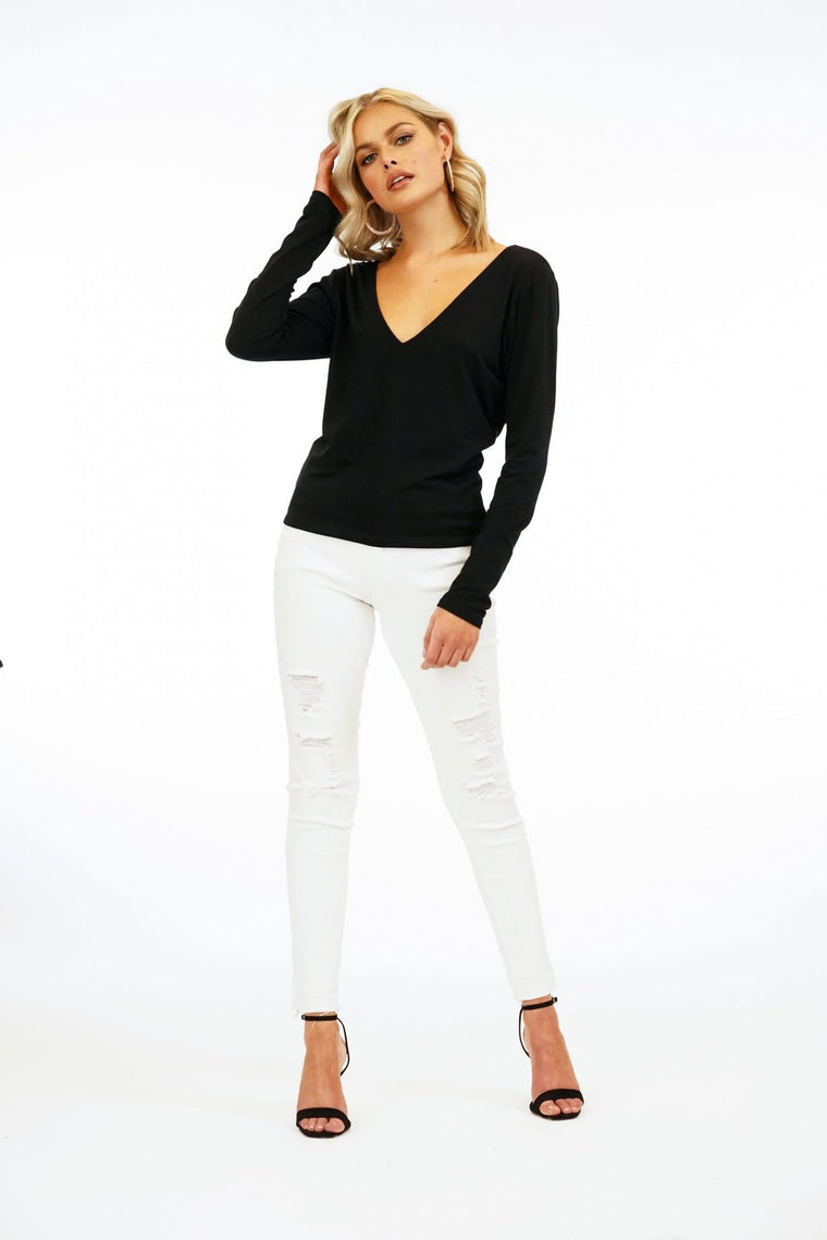 V Neck L/S Cropped Tee