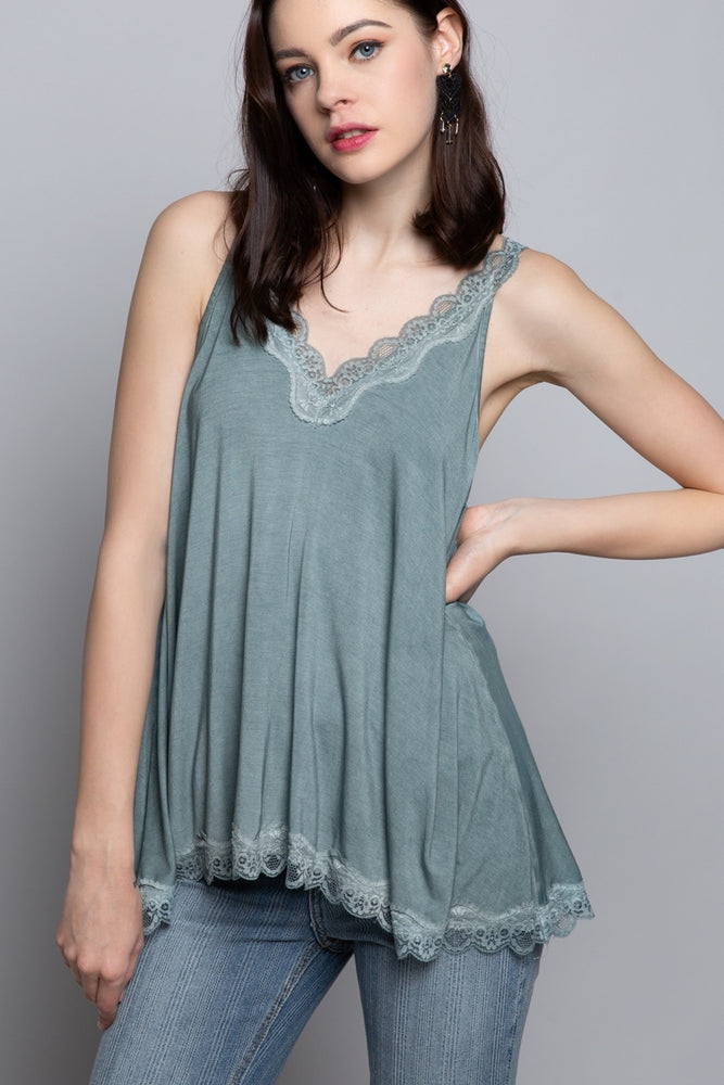 Lace Knit Tank Top - Blue Sage - Jaffi's