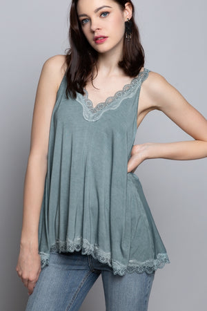 Load image into Gallery viewer, Lace Knit Tank Top - Blue Sage - Jaffi's