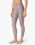 Spacedye Printed Midi Legging - Chai Cocoa Brown Leopard - Front View