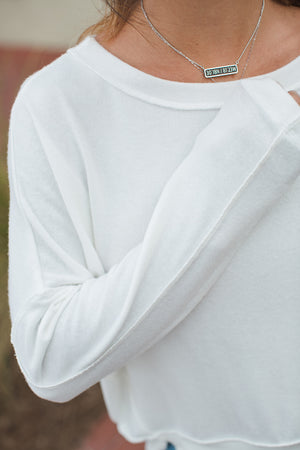 Load image into Gallery viewer, Madison Brushed Jersey Kiara Staggered Hem Top - Up Close View