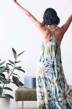 Load image into Gallery viewer, Mekenna Maxi Dress - Winter Leaf Venus Wash - Alternate Back View
