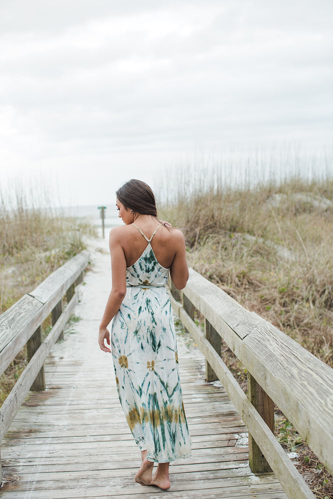 Load image into Gallery viewer, Mekenna Maxi Dress - Winter Leaf Venus Wash - Natural Light Back View