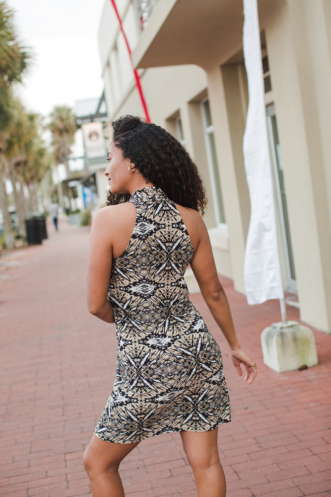 Load image into Gallery viewer, Pablo Printed Tank Dress - Back View in Natural Light