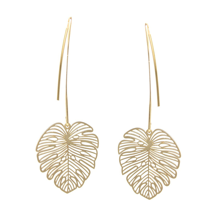 Laser Cut Palm Leaf Drop Earring