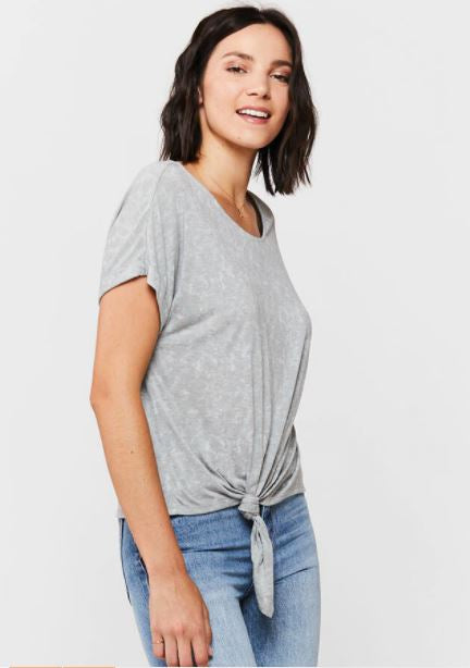 Load image into Gallery viewer, Patria Tie Front Tee - Grey - Side View