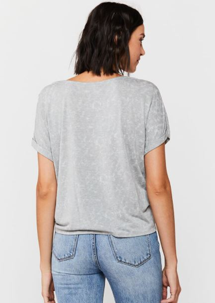 Load image into Gallery viewer, Patria Tie Front Tee - Grey - Back View