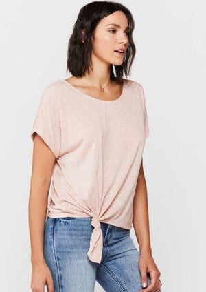 Load image into Gallery viewer, Patria Tie Front Tee - Pink - Side View