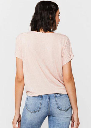 Load image into Gallery viewer, Patria Tie Front Tee - Pink - Back View