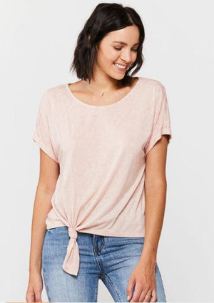 Load image into Gallery viewer, Patria Tie Front Tee - Pink - Front View