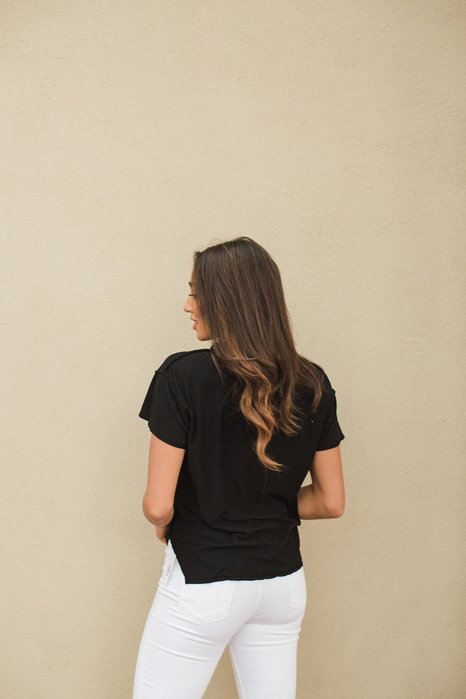 Load image into Gallery viewer, Remy Boxy V Neck Tee - Black - Back View