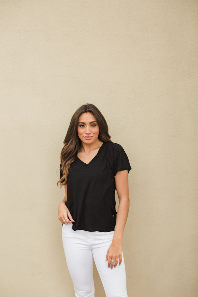 Remy Boxy V Neck Tee - Black - Front View
