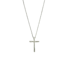 Silver Cross Necklace - Christian Gift Necklace - Detail View