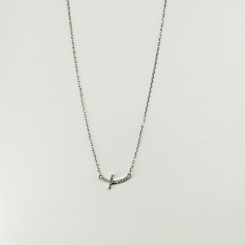 Sideways Rhinestone Cross Necklace
