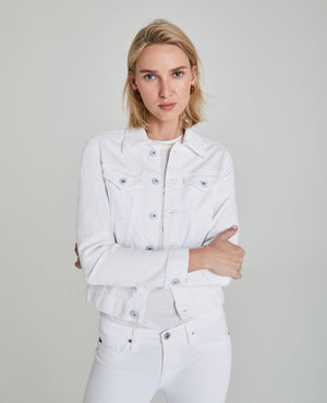 Load image into Gallery viewer, Robyn Denim Jacket - True White - Arms Crossed View
