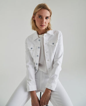 Load image into Gallery viewer, Robyn Denim Jacket - True White - Front View