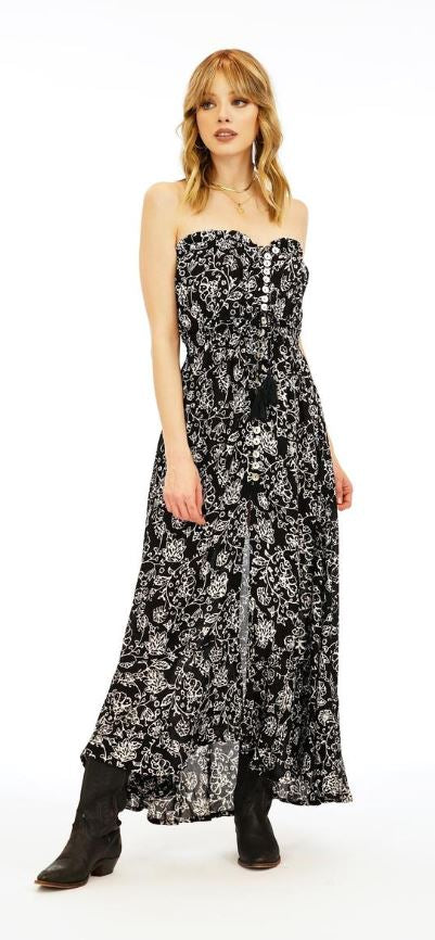 Load image into Gallery viewer, Ryden Long Dress - Java Batik Floral in Black/White