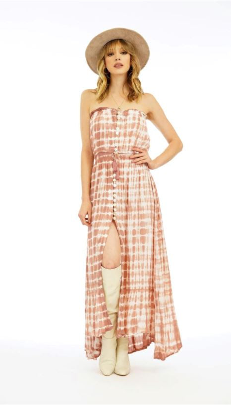 Ryden Long Dress - Sabia TD in Peach/Mauve