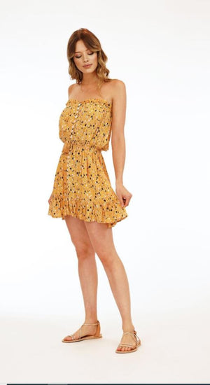 Load image into Gallery viewer, The Ryden Short Dress - Flores Gold