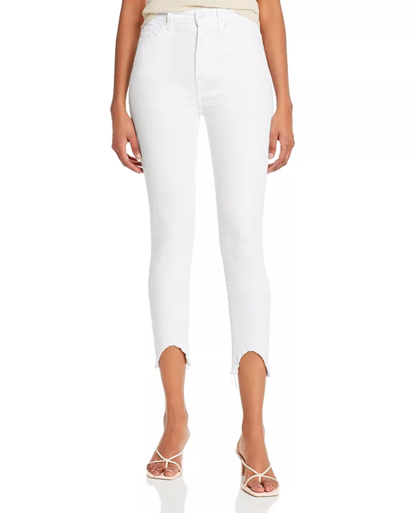 Skinny Jeans with Wave Hem - Clean White