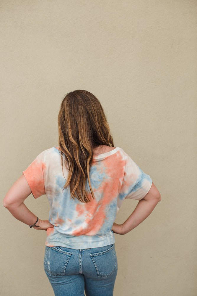 Load image into Gallery viewer, Tie Dye S/S Banded Top - Orange/Blue Tie Dye