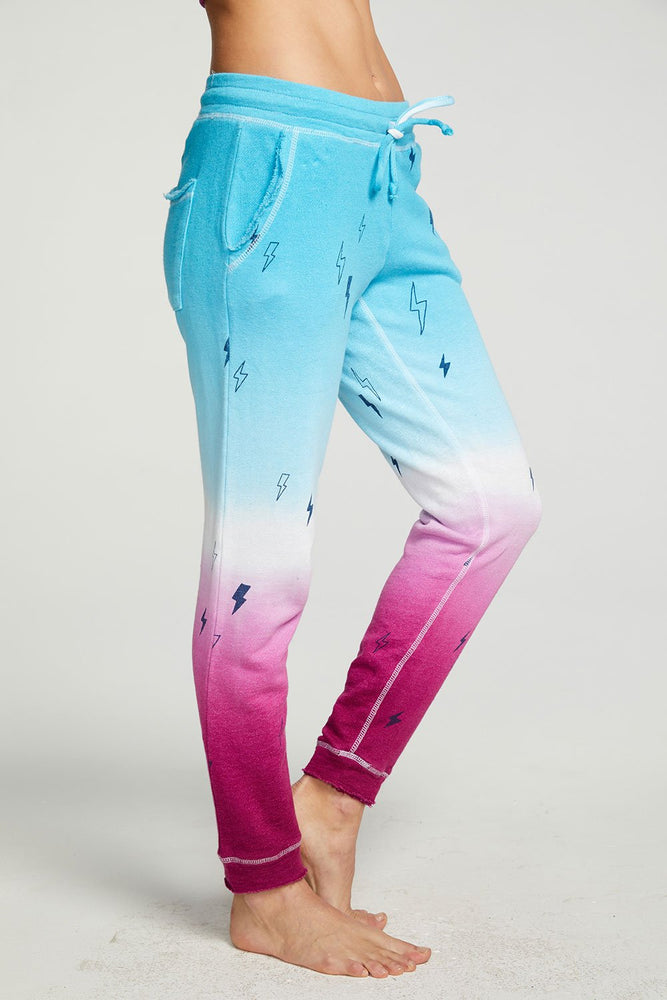 Load image into Gallery viewer, Ombre Bolts Linen French Terry Cuffed Jogger - Alternate Side View