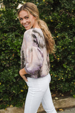 Tie Dye Sweatshirt - Pink/Brown Tie Dye - Side View