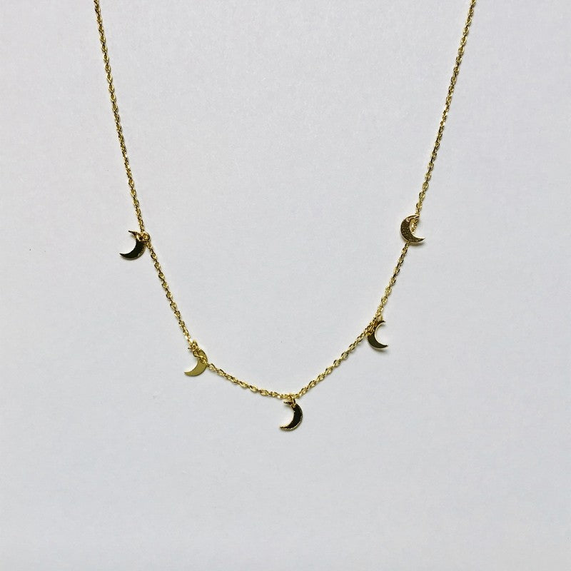 Multi Tiny Crescent Moon Necklace - Jaffi's