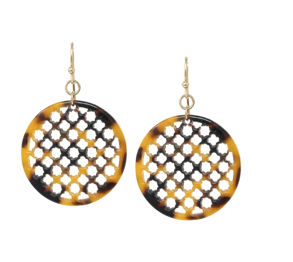 Cut Out Tortoise Disc Earring - Jaffi's