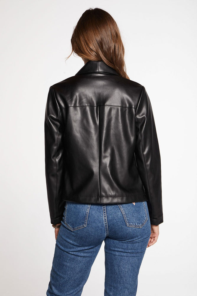 Load image into Gallery viewer, Matte Vegan Leather Drape Front Jacket