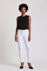 Stand up and stand out in these WHITE denim jeans by Hudson, Los Angeles. Featuring a raw edge hem bottom and super skinny ankle these jeans create an elegant line from waist down. Button closure and 5 pocket design. This photo features a model standing full-length with a black muscle tee and black pumps that create an exquisite contrast from the vibrant, blanc colored pants. Model is on a white background. Photo taken from hudsonjeans.com.