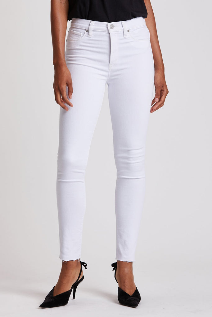 Barbara High  Waisted Skinny Ankle - White