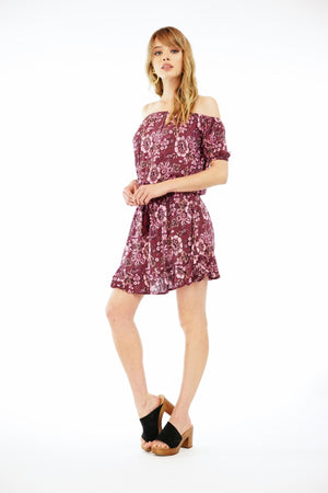 Load image into Gallery viewer, Wonderland Mini Dress - Folk Maroon