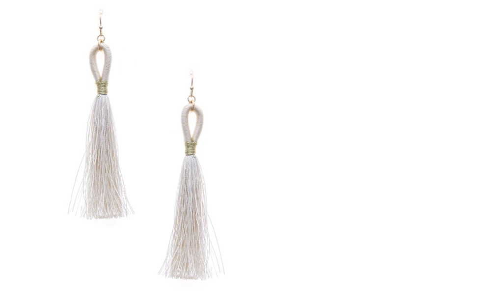 Thread Wrapped Loop Tassel Drop Earring