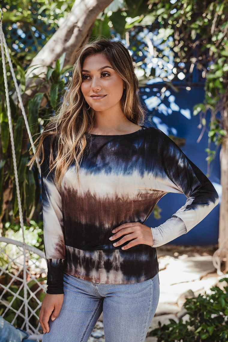 Tie Dye Off the Shoulder Dolman Top